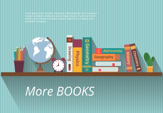 Boeken op boekenplank. bestudeer kennis, meubels en muur, leerboek en informatie, encyclopediewetenschap,