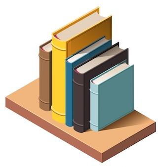 Boeken over isometrische 3d het pictogramillustratie van het muurboekenrek