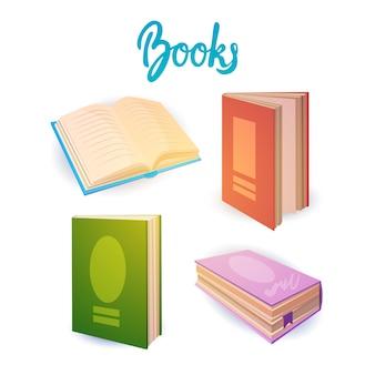 Boeken set school onderwijs concept