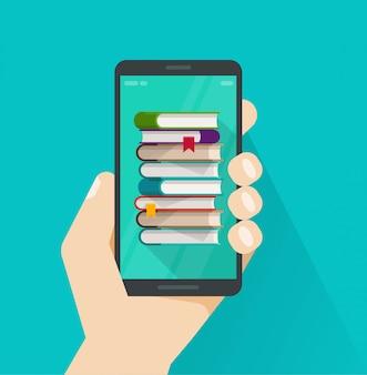 Boeken stapel of stapel op mobiele telefoon of mobiel scherm