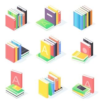 Boeken stapelen isometrische set illustratie