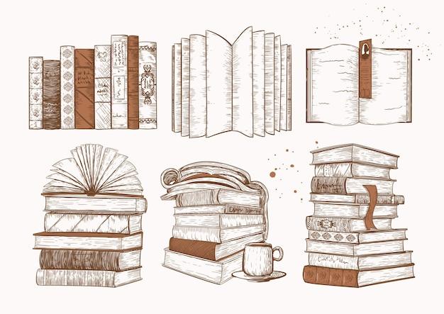 Boeken vintage pictogrammenset, schets getrokken, collectie. stapels boeken, tijdschriften.