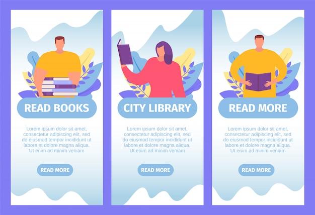 Boeken webbanners instellen voor online lezen, kennis en kleine mensen studeren texbooks platte cartoon illustratie