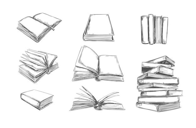 Boekencollectie in handgetekende techniek