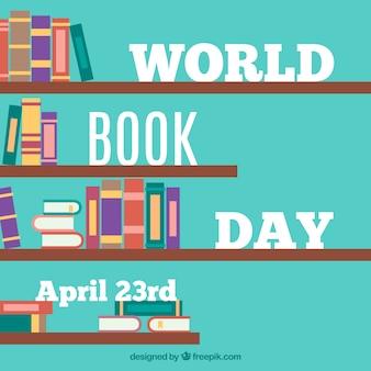 Boekenkast achtergrond met kleurrijke boeken in plat design
