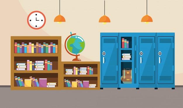 Boekenkast en kluisjes met klok in de klasbenodigdheden