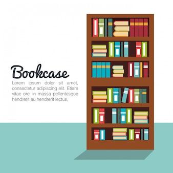 Boekenkast geïsoleerd ontwerp