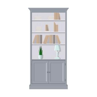 Boekenkast met boeken. platte vectorillustratie.