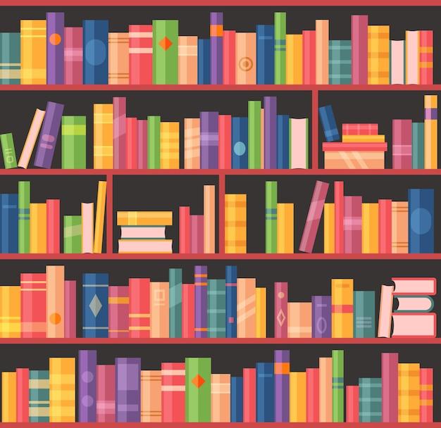 Boekenkast of boekenplank met boeken, bibliotheek van universiteit of school bibliothecaris kamer, vector achtergrond.