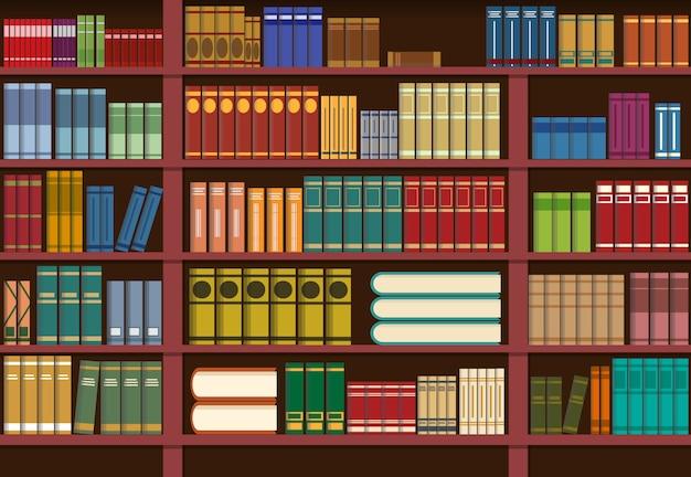 Boekenplank in bibliotheek, kennisillustratie