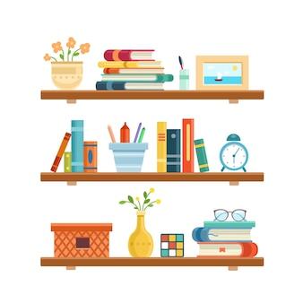 Boekenplank in bibliotheekkamer kantoor plank muur interieur boekenplank