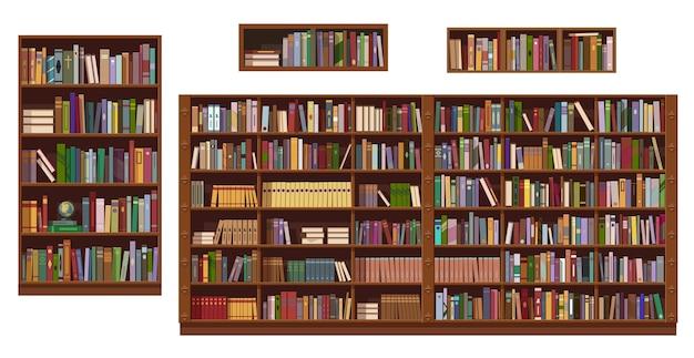 Boekenplanken en boekenkast van bibliotheek of boekhandel, onderwijs.