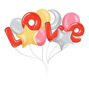Boeket ballonnen met liefde inscriptie Premium Vector