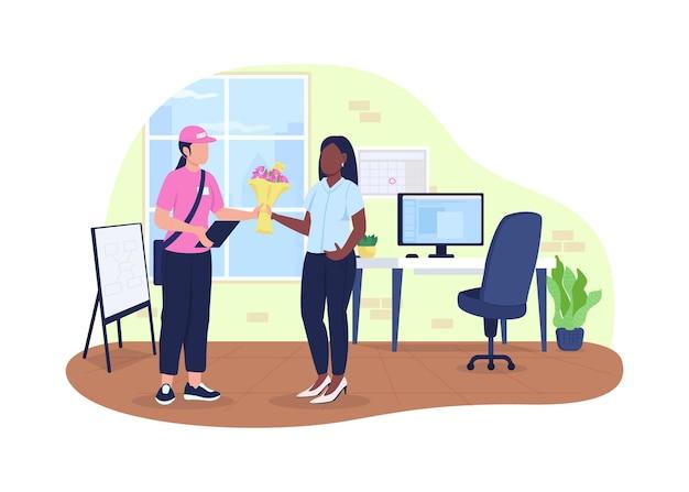 Boeket bezorging op kantoor 2d. koerier met bloemen en zakelijke werknemer flat