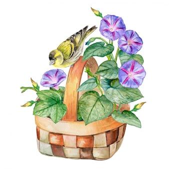 Boeket bloemen in een mand