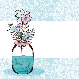 Boeket bloemen in pot schattige kaart