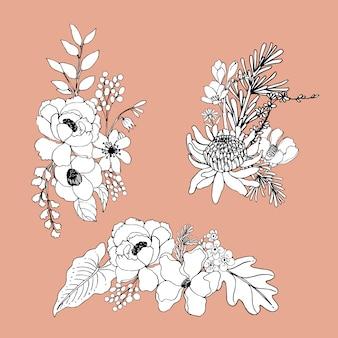 Boeket bloemen lijntekeningen tropial.decoratieve bloeiende planten.