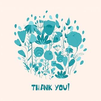 Boeket bloemen met dank u hand belettering