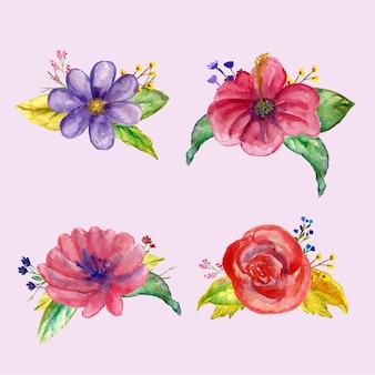Boeket bloemen met lente lijn kunst concept ontwerp aquarel illustratie