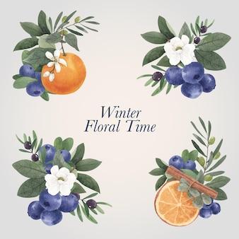 Boeket bloemen met winter bloemen concept, aquarel stijl