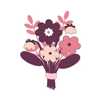 Boeket bloemen. valentijnsdag cadeau, voor verjaardag. datum van geliefden. vectorillustratie geïsoleerd op een witte achtergrond.