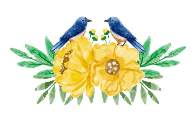 Boeket gele bloemen en vogels met waterverf