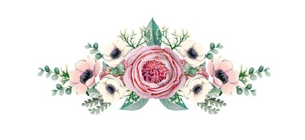 Boeket met anemoon, engelse roos, eucalyptus, magnolia