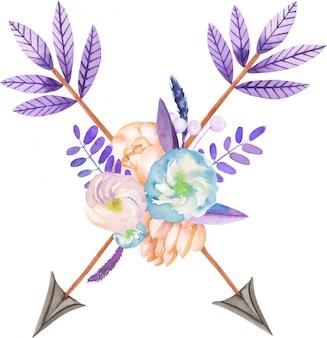 Boeket met aquarel bloemen en pijlen