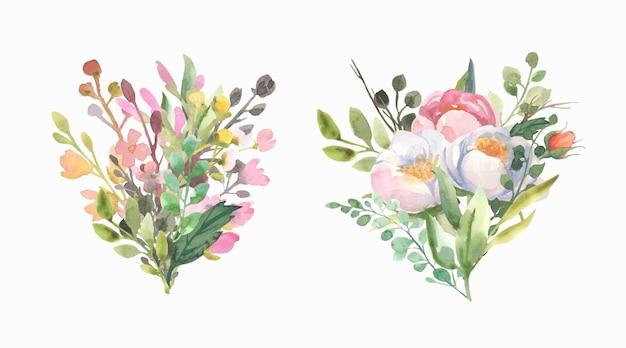 Boeket met bloemen, rozen, groene bladeren.