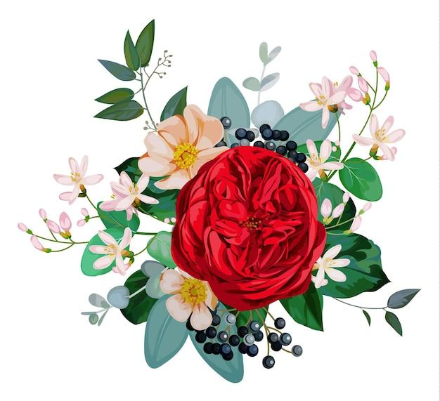 Boeket met rode engelse roos