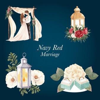 Boeket met rode marine bruiloft concept, aquarel stijl