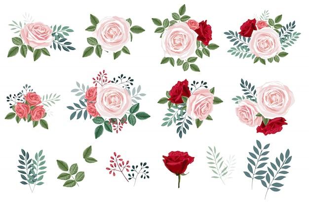 Boeket set met rozen en bladeren, floral design elementen collectie