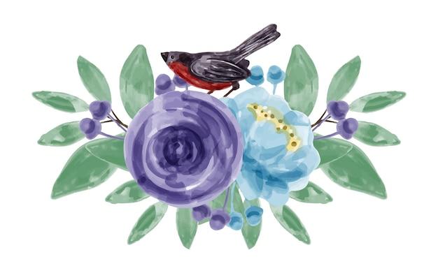Boeket van blauwpaarse bloemen en vogels met waterverf