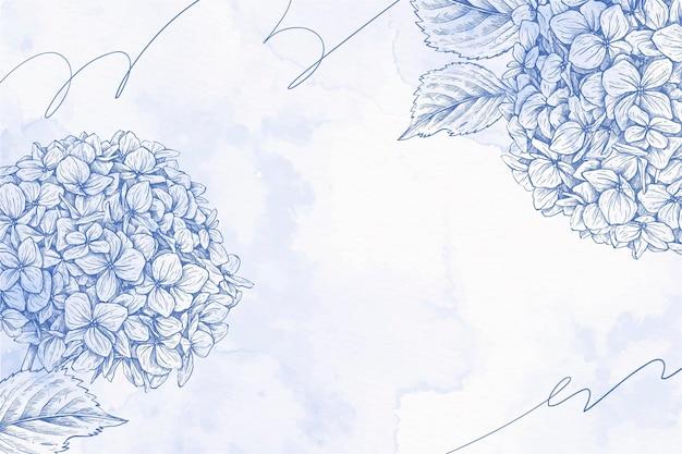 Boeket van bloemen poeder pastel hand getekende achtergrond