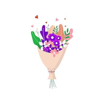 Boeket van de lente wild en tuin bloeiende bloemen met andere decorelementen geïsoleerd op een witte achtergrond. plat ontwerp. papier gesneden stijl. hand getekende trendy vector wenskaart.
