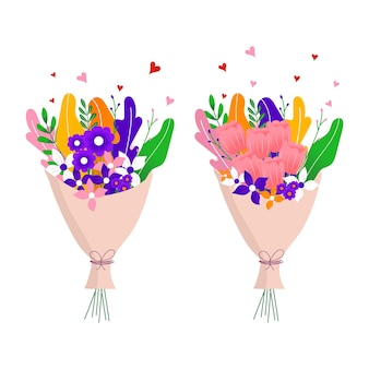 Boeket van de lente wild en tuin tulp bloeiende bloemen met andere decorelementen geïsoleerd op een witte achtergrond. plat ontwerp. papier gesneden stijl. hand getekende trendy vector wenskaart
