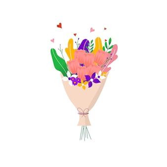 Boeket van de lente wild en tuin tulp bloeiende bloemen met andere decorelementen geïsoleerd op een witte achtergrond. plat ontwerp. papier gesneden stijl. hand getekende trendy vector wenskaart.