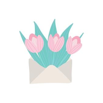 Boeket van lentebloemen in de envelopillustratie