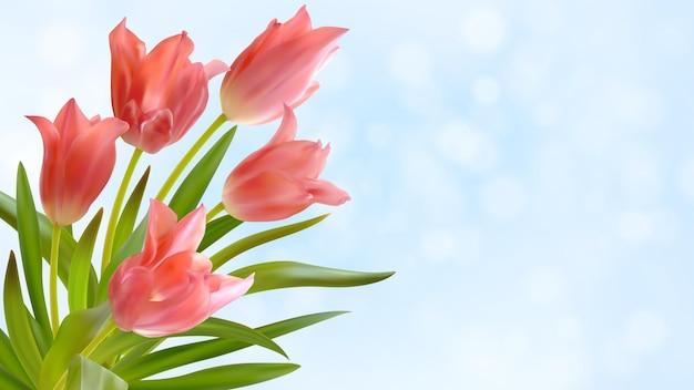 Boeket van realistische roze tulpen