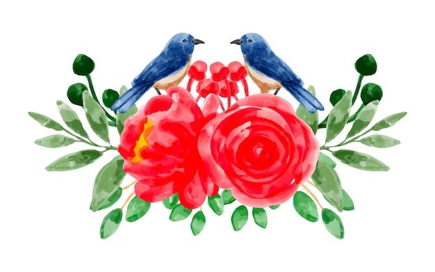Boeket van rode bloemen en vogels met aquarel