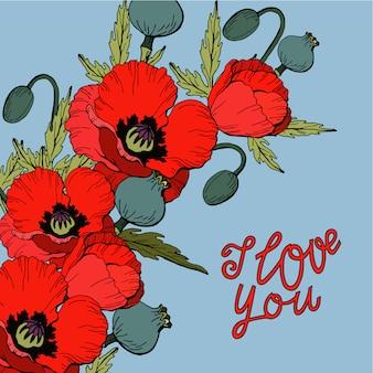 Boeket van rode papaver bloemen met ik hou van jou belettering