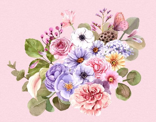 Boeket van roze bloemen.