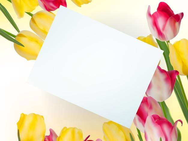 Boeket van schoonheidsbloemen met kaart.