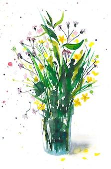 Boeket van wilde bloemen in een glas