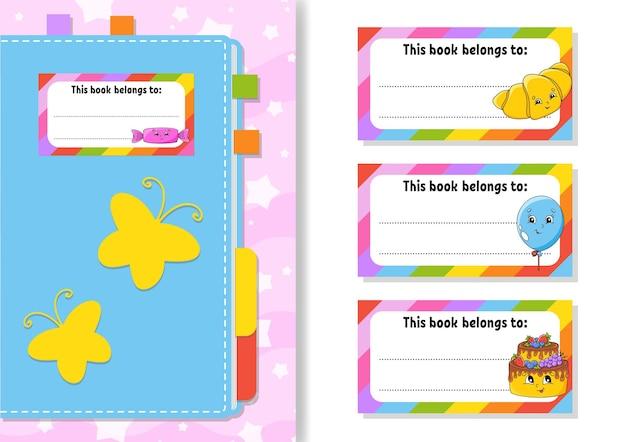 Boeketiketstickers voor kinderen de rechthoekige vorm