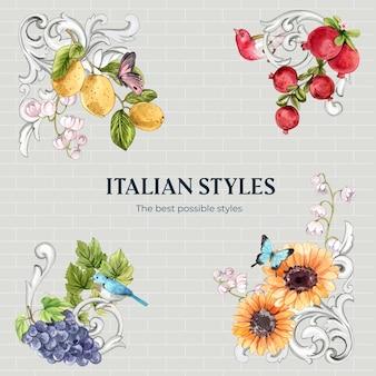 Boeketset met italiaanse stijl in aquarelstijl