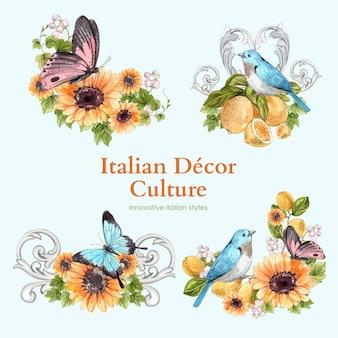 Boeketset met italiaanse stijl in aquarelstijl Premium Vector
