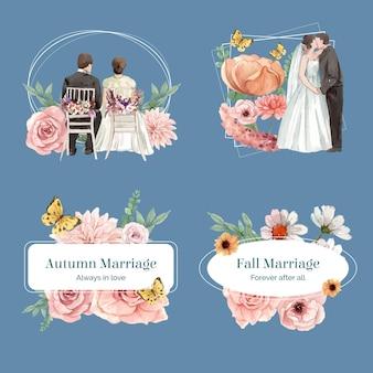 Boeketsjabloon met bruiloft herfstconcept in aquarelstijl
