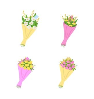 Boeketten, bloemen met berichten platte set.