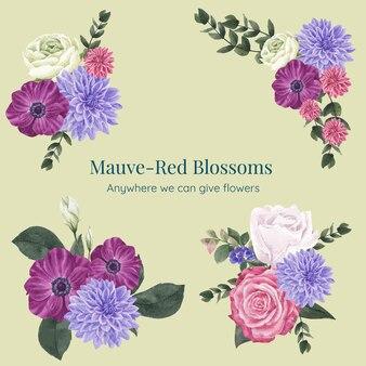Boeketten met muave rood bloemenconcept, aquarelstijl